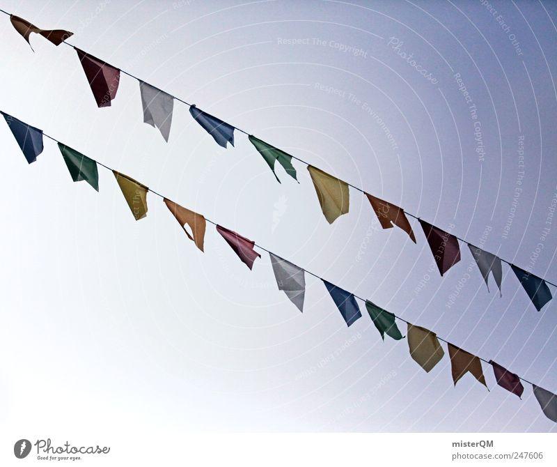 Vom Winde... Himmel Religion & Glaube Kunst ästhetisch Fahne Karneval Reihe wehen Feiertag festlich Vielfältig Girlande Tibet aufgereiht Gebetsfahnen