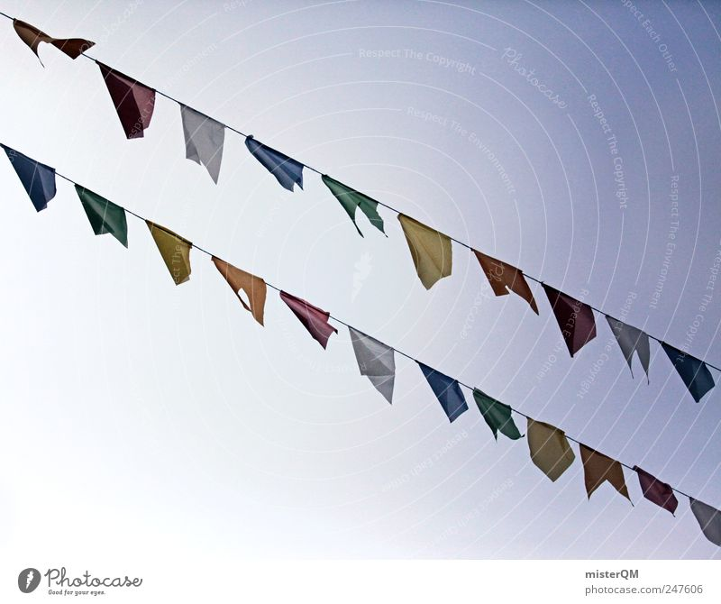 Vom Winde... Himmel Religion & Glaube Kunst Wind ästhetisch Fahne Karneval Reihe wehen Feiertag festlich Vielfältig Girlande Tibet aufgereiht Gebetsfahnen