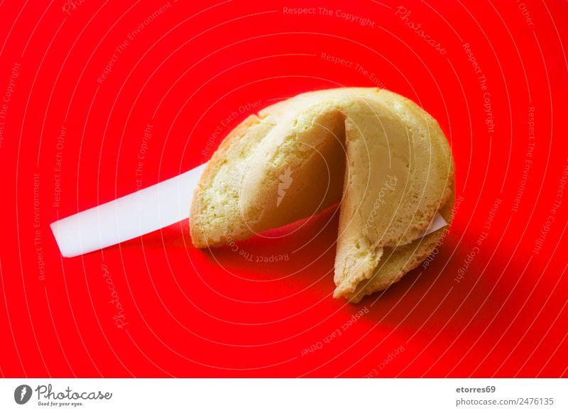Glückskeks Lebensmittel Foodfotografie Dessert Süßwaren Plätzchen Asiatische Küche frisch Gesunde Ernährung gut süß rot Chinesisch Muster Schreibpapier