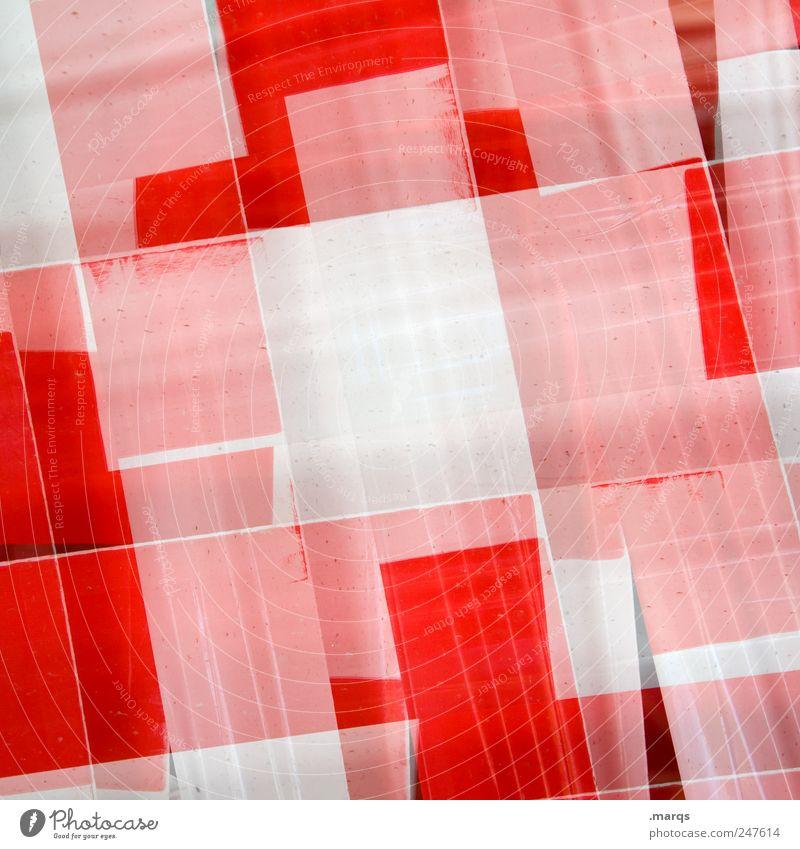 Barrier Lifestyle Stil Design Kunststoff Schilder & Markierungen Linie eckig einzigartig rot weiß chaotisch Farbe Verbote Doppelbelichtung Barriere Farbfoto