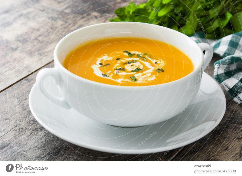 Kürbissuppe in weißer Schale Lebensmittel Gemüse Suppe Eintopf Ernährung Bioprodukte Vegetarische Ernährung Diät Heißgetränk Schalen & Schüsseln Löffel