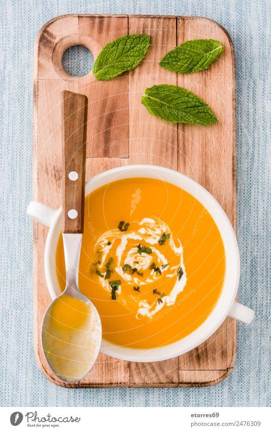 Kürbissuppe in weißer Schale Lebensmittel Gemüse Suppe Eintopf Kräuter & Gewürze Ernährung Bioprodukte Vegetarische Ernährung Diät Getränk Heißgetränk