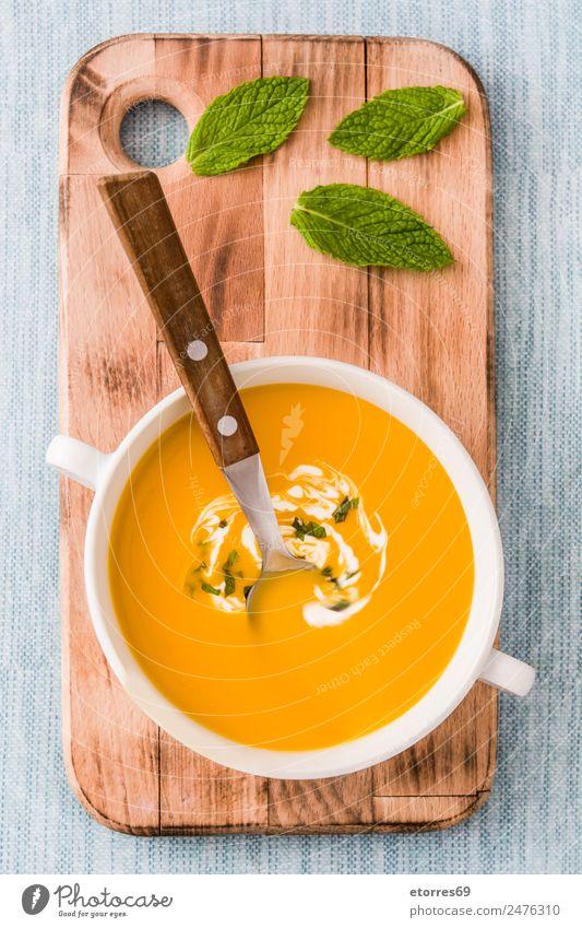 Kürbissuppe in weißer Schale Lebensmittel Gemüse Suppe Eintopf Ernährung Essen Abendessen Bioprodukte Vegetarische Ernährung Diät Heißgetränk