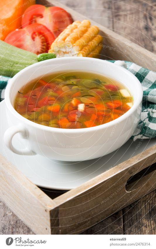Gemüsesuppe in Schüssel auf Holztisch Lebensmittel Suppe Eintopf Kräuter & Gewürze Ernährung Essen Abendessen Bioprodukte Vegetarische Ernährung Diät