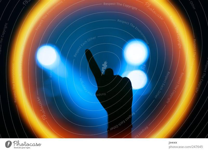 Ich weiß was Mensch blau Hand Freude schwarz Farbe gelb Party hell Feste & Feiern Freizeit & Hobby Arme Finger Coolness rund