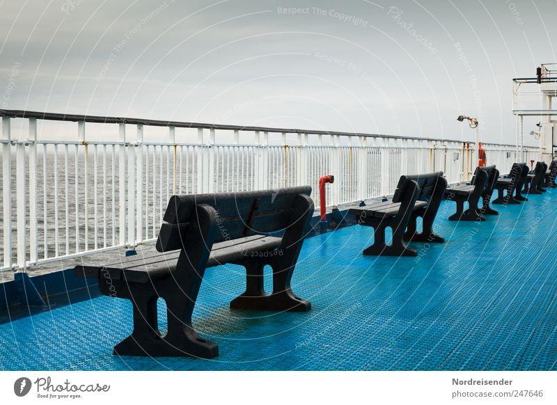 Feiner Regen aus NW blau Meer Ferien & Urlaub & Reisen Wolken ruhig dunkel Wetter Wind Klima Perspektive Bank Güterverkehr & Logistik beobachten frieren