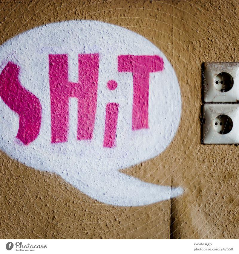 $H!T Gefühle Graffiti Stimmung braun Energiewirtschaft Elektrizität Schriftzeichen Technik & Technologie Hinweisschild Zeichen Pfeil trashig Steckdose