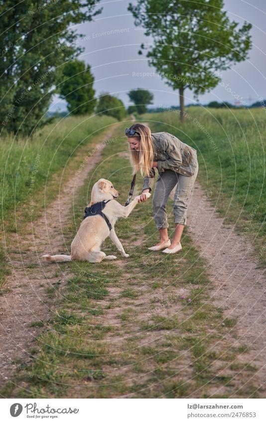 Liebevolle junge Frau bot eine Pfote von ihrem Hund an. Sommer Erwachsene Freundschaft 1 Mensch 18-30 Jahre Jugendliche Landschaft Tier Wege & Pfade blond gold
