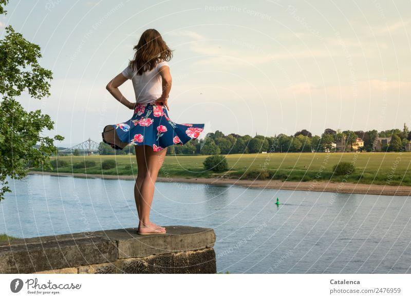 Blaue Wunder II feminin Junge Frau Jugendliche 1 Mensch Landschaft Himmel Wolken Sommer Schönes Wetter Baum Gras Wiese Flussufer Elbe Haus Einfamilienhaus Mauer