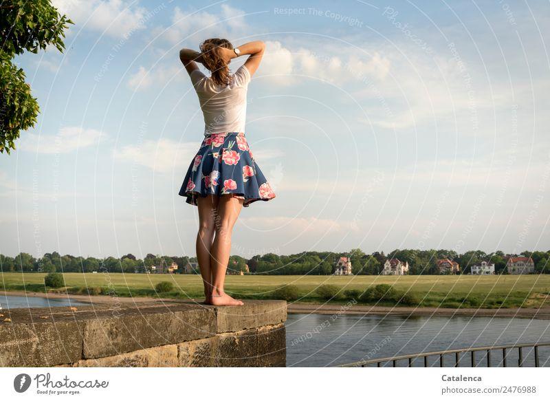 An der Elbe II feminin Junge Frau Jugendliche 1 Mensch Landschaft Himmel Wolken Sommer Schönes Wetter Baum Gras Wiese Flussufer Dorf Haus Mauer Wand Geländer