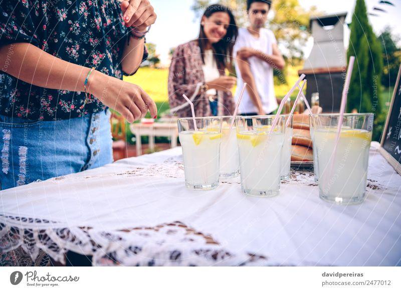 Freunde am Tisch mit frischer Limonade, die Spaß macht. Getränk trinken Trinkhalm Lifestyle Freude Glück Freizeit & Hobby Sommer Garten sprechen Frau Erwachsene