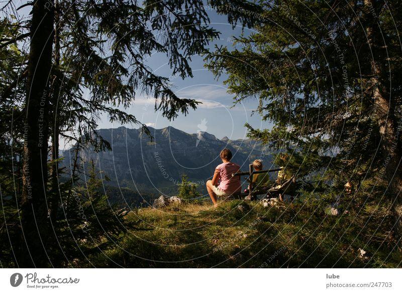 Frohe Aussicht Ferien & Urlaub & Reisen Tourismus Ausflug Freiheit Sommer Sommerurlaub Berge u. Gebirge wandern Natur Landschaft Klima Schönes Wetter Wald