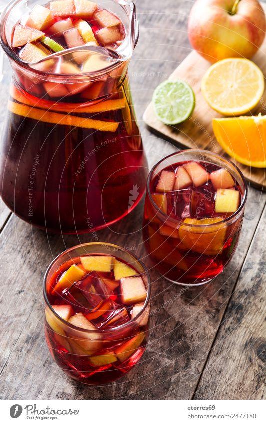 Sommer rot kalt Holz orange Frucht Eis Orange Glas Tisch lecker Getränk trinken Wein Apfel
