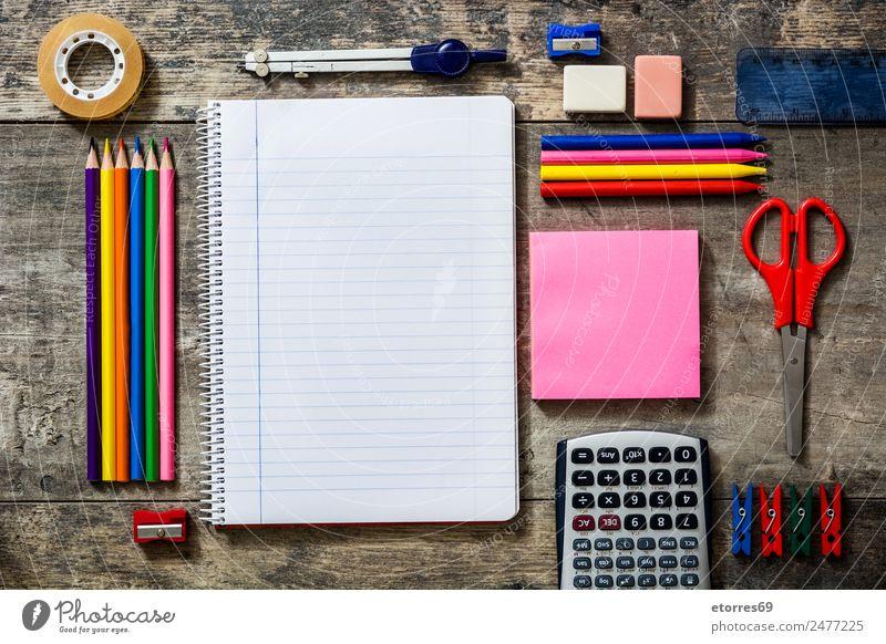 Zurück zur Schule Bildung lernen Arbeitsplatz Büro Papier Schreibstift Holz blau braun mehrfarbig grün rosa rot weiß zurück zur Schule Vorrat Notizbuch