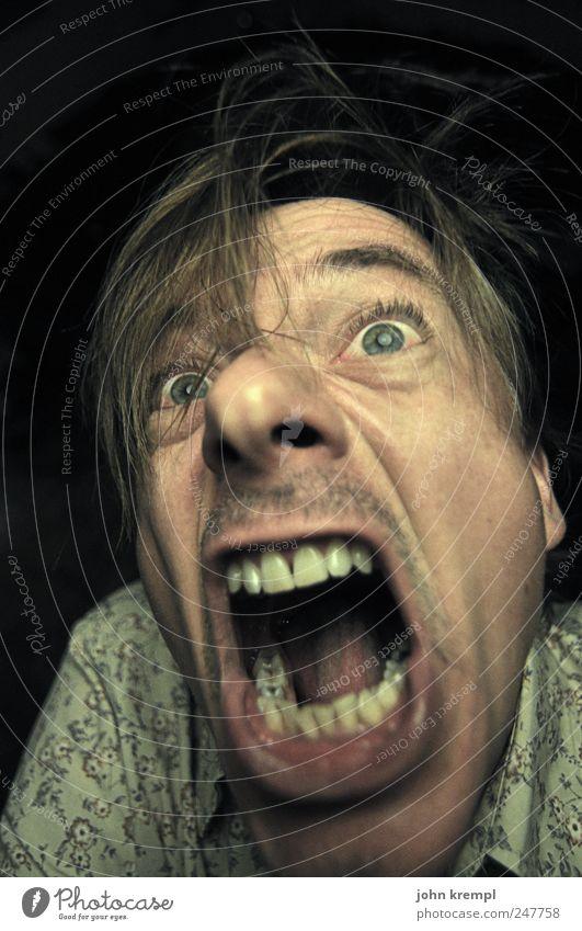 Motiv bereits zu häufig bei Photocase vertreten Mensch Mann Gesicht gelb Kopf Erwachsene braun Angst lustig verrückt maskulin bedrohlich Zähne Wut gruselig Schmerz