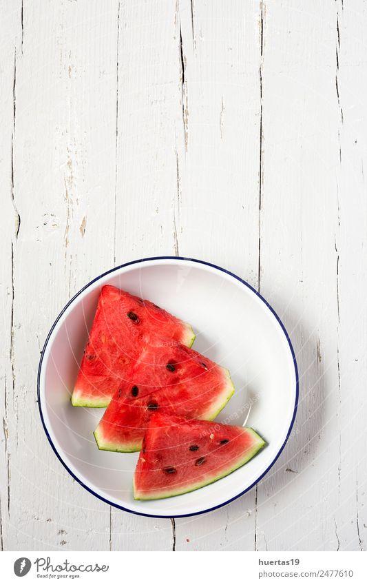 Wassermelone lecker frische Sommerfrüchte Lebensmittel Gemüse Frucht Frühstück Diät Saft Teller Gesundheit Gesunde Ernährung sauer rot weiß Ackerbau Entzug