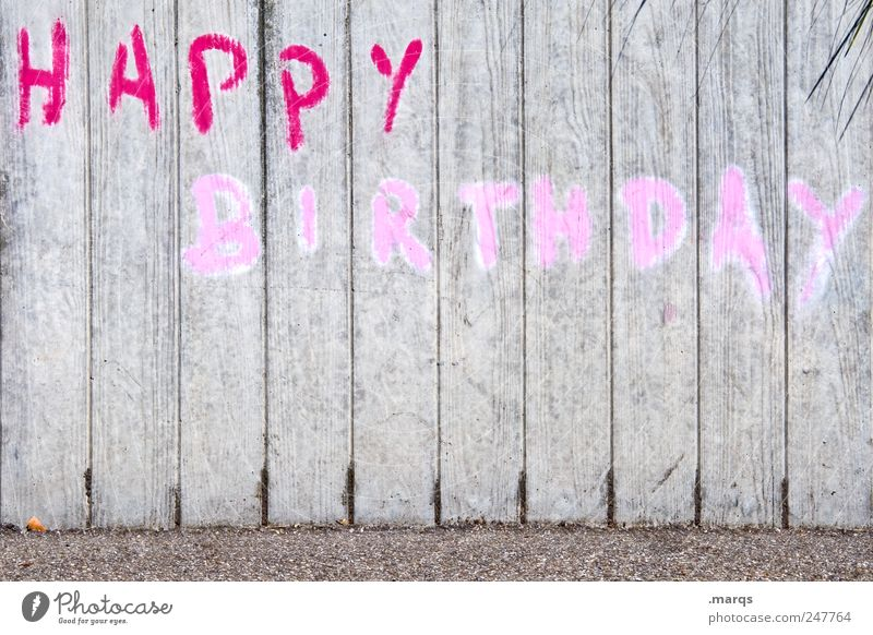 to you Lifestyle Feste & Feiern Geburtstag Mauer Wand Schriftzeichen Graffiti grau rosa rot Happy Birthday Farbfoto Außenaufnahme Menschenleer