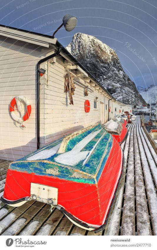 Himmel Natur Ferien & Urlaub & Reisen blau Wasser grün Landschaft Sonne weiß rot Haus Wolken Winter Fenster Berge u. Gebirge schwarz
