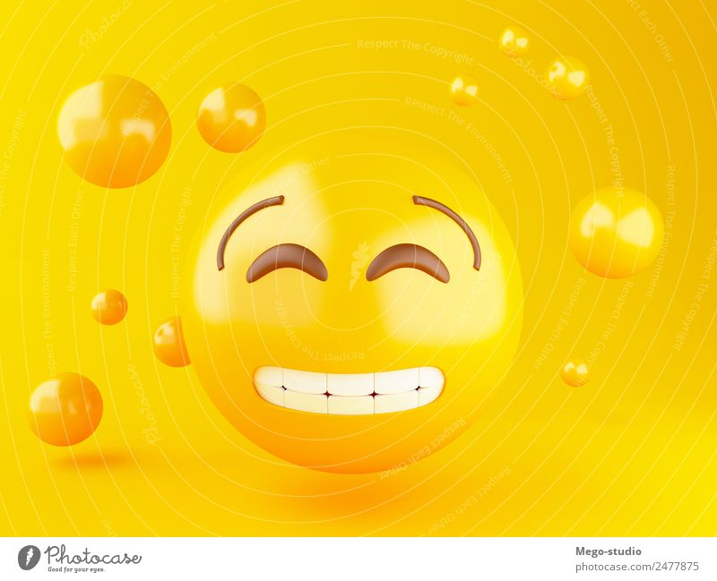 3d Emoji-Symbole mit Gesichtsausdruck. Design Freude Glück Freundschaft Mund glänzend Lächeln lachen Fröhlichkeit lustig niedlich gelb Gefühle Smiley Ausdruck
