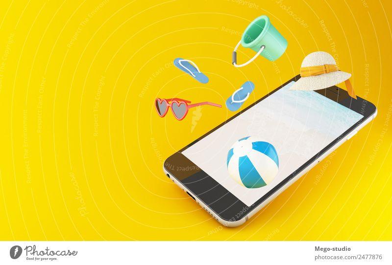 3D-Smartphone. Tropischer Sommerurlaub Stil Design Freude Ferien & Urlaub & Reisen Tourismus Ausflug Strand Meer Telefon PDA Bildschirm Landschaft Mode