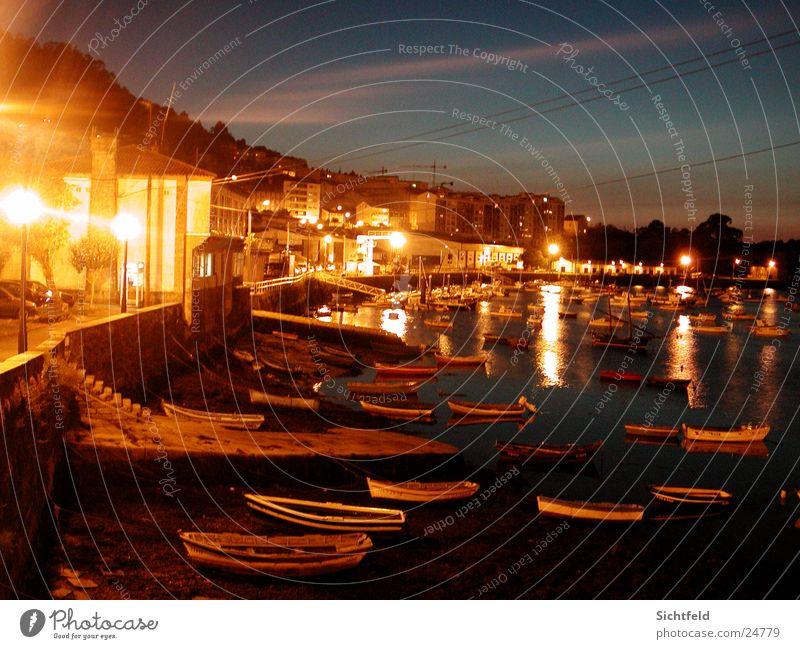 Hafen Spanien Sonnenuntergang Nacht Stadt Portwein Wasserfahrzeug Licht Laterne Haus Meer Strand Europa Pontedeume Straße
