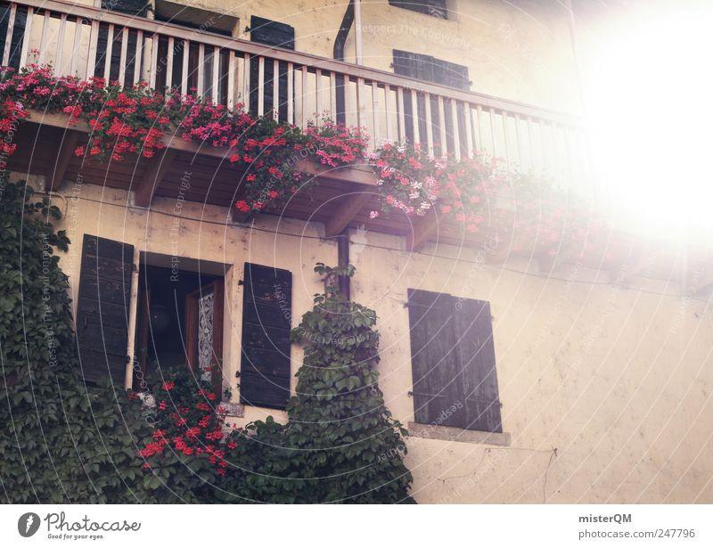 daheim. alt Ferien & Urlaub & Reisen Sonne Blume Haus Fenster Fassade Idylle Kitsch Dorf Balkon Hütte Bayern Heimat Tradition Scheinwerfer