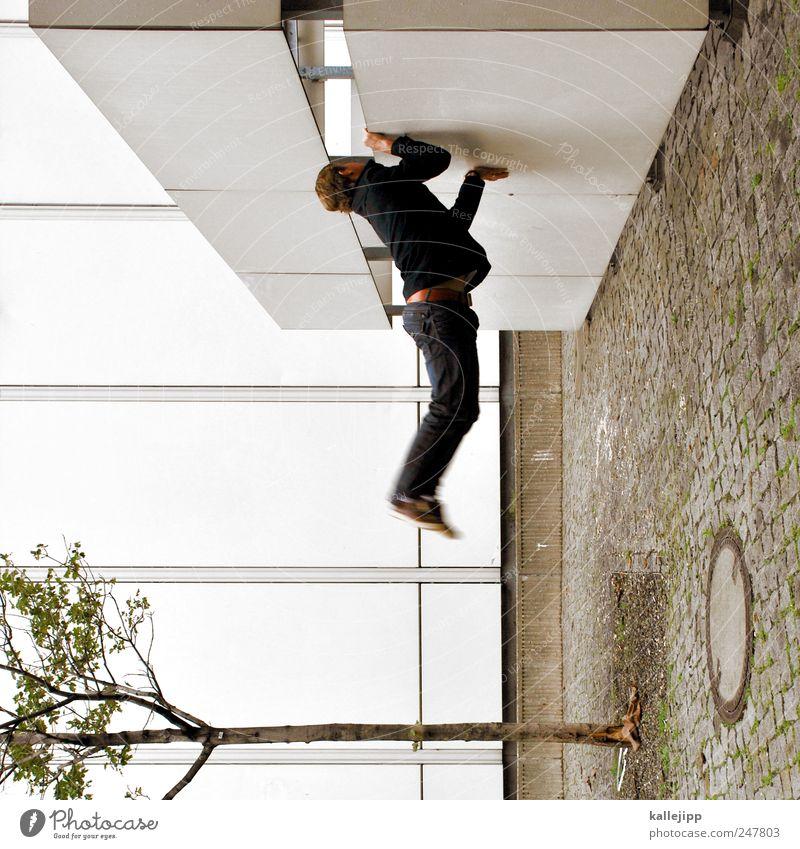 baum be stand Mensch 1 Schweben Baum Haus festhalten Zigarette Gully Schwerkraft Farbfoto Außenaufnahme Licht Schatten Kontrast
