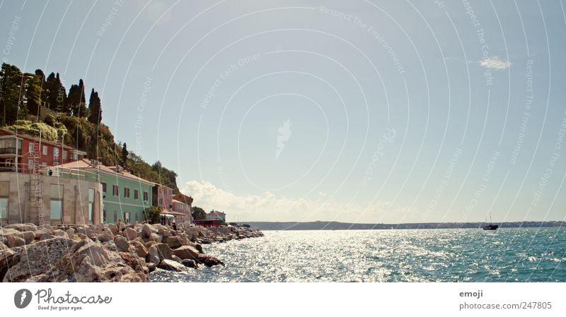 Slowenien / Kroatien Himmel Wasser blau Sommer Ferien & Urlaub & Reisen Meer Haus Küste Stein Dorf Schönes Wetter Wolkenloser Himmel Kroatien Slowenien Urlaubsfoto Urlaubsort