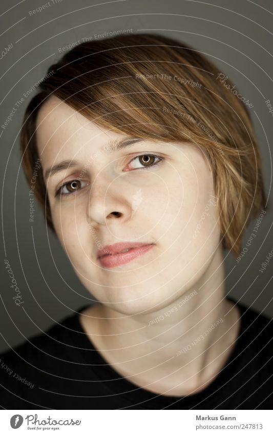 Teenager schön Gesicht Mensch feminin Junge Frau Jugendliche Kopf 1 18-30 Jahre Erwachsene brünett Lächeln braun modern ringlicht Reaktionen u. Effekte