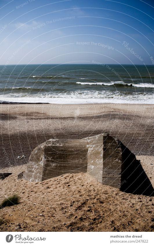 DÄNEMARK - XXXI Umwelt Natur Landschaft Sand Luft Wasser Himmel Wolken Horizont Sommer Schönes Wetter Wellen Küste Strand Nordsee Ruine Bauwerk Gebäude Fassade