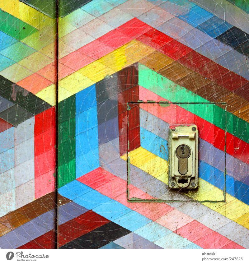 Kunterbunt Tür Schloss Farbstoff Farbe Linie Streifen mehrfarbig Würfel Quadrat Farbfoto abstrakt Muster Strukturen & Formen Menschenleer Textfreiraum oben