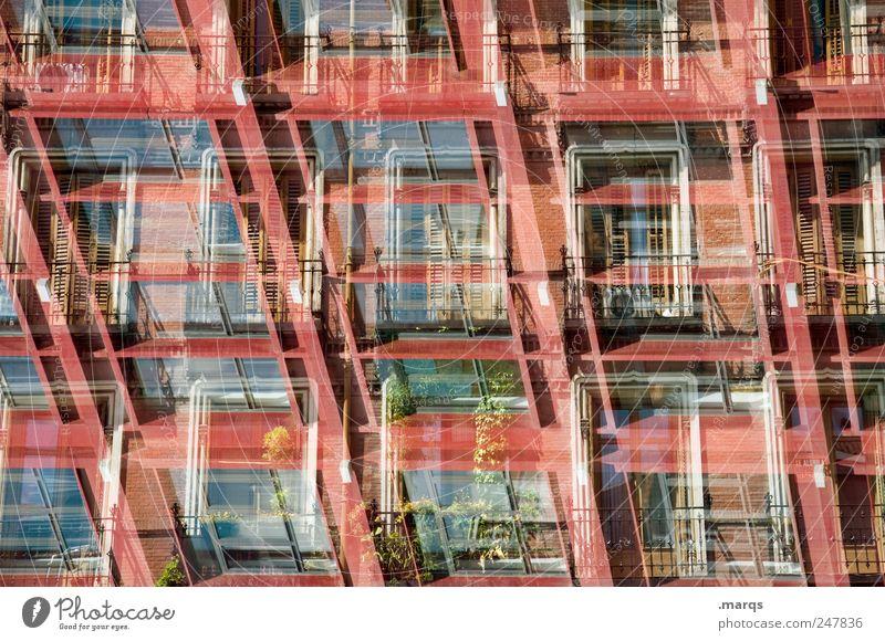 Roter Salon rot Haus Fenster Architektur Gebäude Wohnung Fassade verrückt Perspektive Häusliches Leben Wandel & Veränderung einzigartig außergewöhnlich Bauwerk Balkon