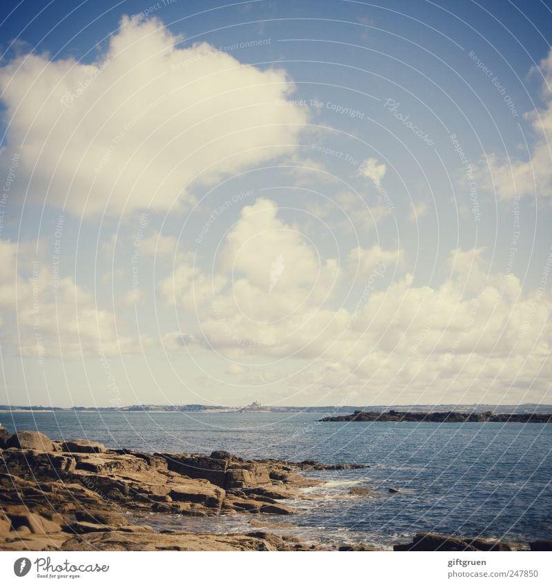 everything you can imagine is real Umwelt Natur Landschaft Urelemente Luft Wasser Himmel Wolken Sommer Klima Wetter Schönes Wetter Felsen Wellen Küste Strand