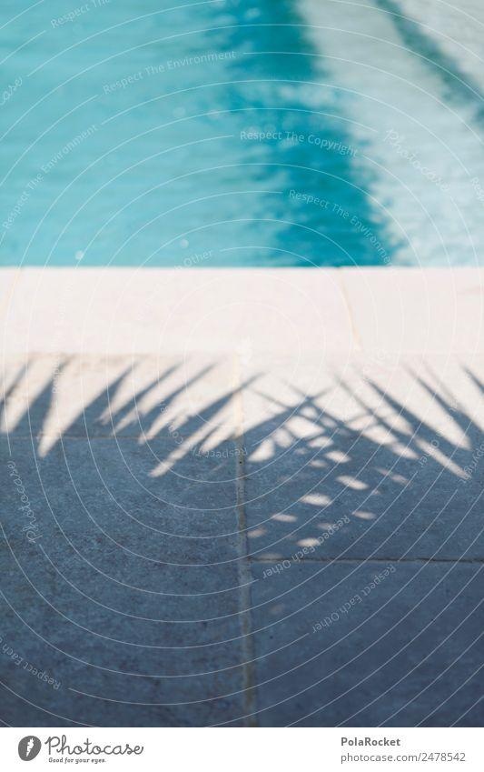#A# Urlaubsstimmung Kunst ästhetisch Palmenwedel Schwimmbad Hotelpool blau Ferien & Urlaub & Reisen Urlaubsfoto Erholung Paradies paradiesisch Sommer