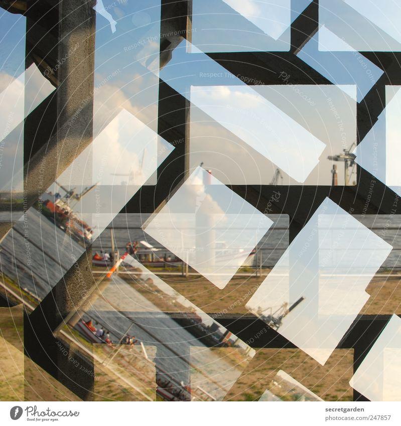 sehkrank Güterverkehr & Logistik Wasser Himmel Wolken Horizont Schönes Wetter Gras Flussufer Hamburger Hafen Hafenstadt Bauwerk Verkehr Schifffahrt