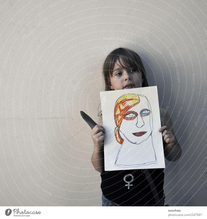 künstlerin Mensch Kind Hand Mädchen Gesicht feminin Kopf Haare & Frisuren Kunst Kindheit Feder Gemälde frech selbstbewußt Stolz