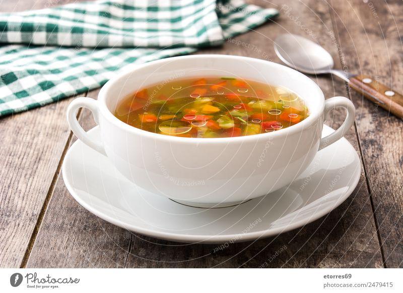 Gemüsesuppe in Schüssel auf Holztisch Suppe Lebensmittel Gesunde Ernährung Foodfotografie Getränk trinken heiß Vegetarische Ernährung Vegane Ernährung Diät
