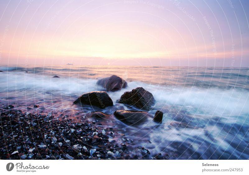 06:11 Himmel Natur Wasser Ferien & Urlaub & Reisen Sommer Meer Ferne Umwelt Freiheit Landschaft Küste Stein Wellen Horizont Ausflug leuchten
