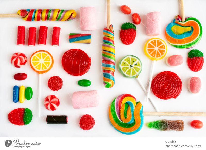 Bunte Lutscher und Süßigkeiten und süße Süßigkeiten. Lebensmittel Dessert Süßwaren Schokolade Ernährung Büffet Brunch Fastfood Diät füttern lecker reich Bonbon