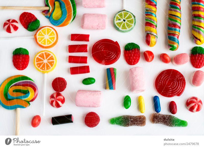Bunte Lutscher und Süßigkeiten Lebensmittel Dessert Süßwaren Schokolade Marmelade Ernährung Picknick Diät Fastfood füttern mehrfarbig Bonbon süß Zucker
