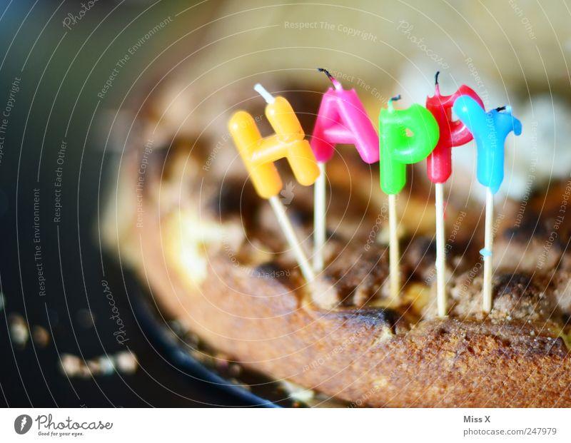 höbbi börsdäi Lebensmittel Teigwaren Backwaren Kuchen Ernährung Kaffeetrinken Feste & Feiern Geburtstag lecker süß Happy Birthday Kerze Buchstaben Apfelkuchen