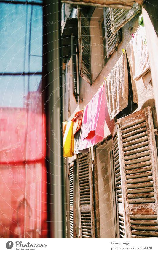 Haxo Aussicht Stadt Hafenstadt Stadtzentrum Altstadt Haus Mauer Wand ästhetisch trocknen Wärme Fensterblick Handtuch Vorhang Fensterladen alt Bauwerk rot blau