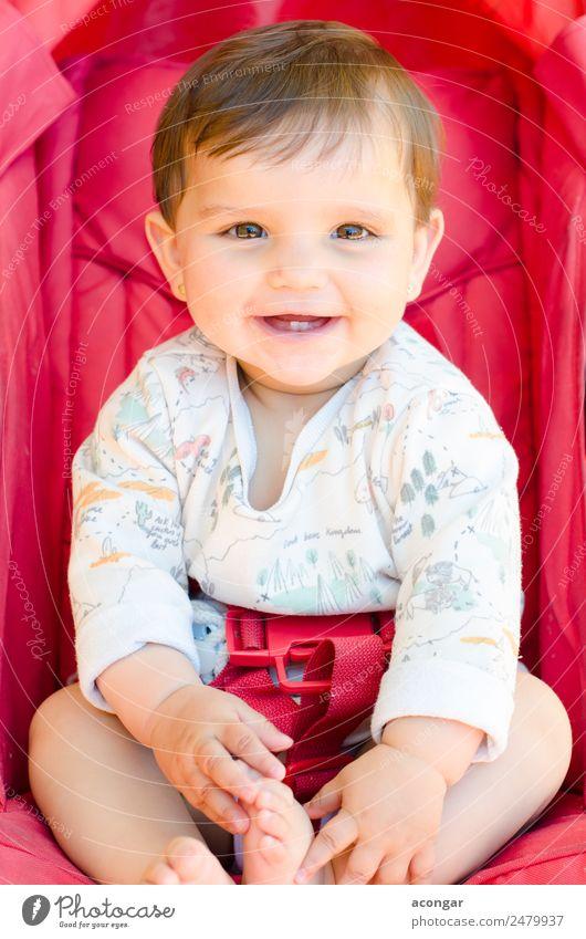 Lächelndes Baby sitzend Glück schön Gesicht Kind Mensch feminin Mädchen Kindheit Körper 1 0-12 Monate rot Fröhlichkeit Kaukasier Menschen Sitz Kulisse süß