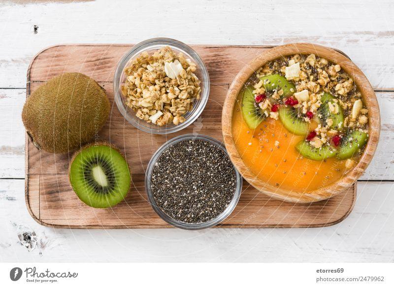 Gesunder Smoothie Lebensmittel Joghurt Frucht Dessert Ernährung Frühstück Bioprodukte Vegetarische Ernährung Schalen & Schüsseln frisch gut süß grün orange weiß