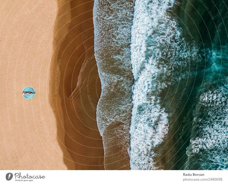 Frau Mensch Natur Ferien & Urlaub & Reisen Jugendliche Junge Frau Sommer blau schön Farbe Wasser Landschaft Sonne Meer Erholung Freude