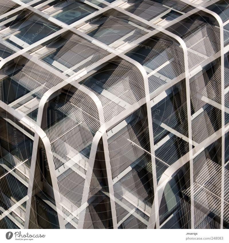 Kubus elegant Stil Design Fassade Metall Linie Streifen außergewöhnlich einzigartig modern verrückt Perspektive Präzision Surrealismus Zukunft Würfel
