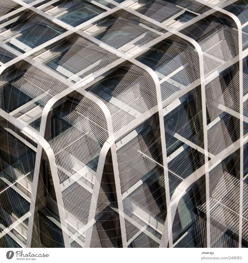 Kubus Stil Metall Linie elegant Fassade Design verrückt Perspektive modern Zukunft Streifen einzigartig außergewöhnlich Grafik u. Illustration Doppelbelichtung