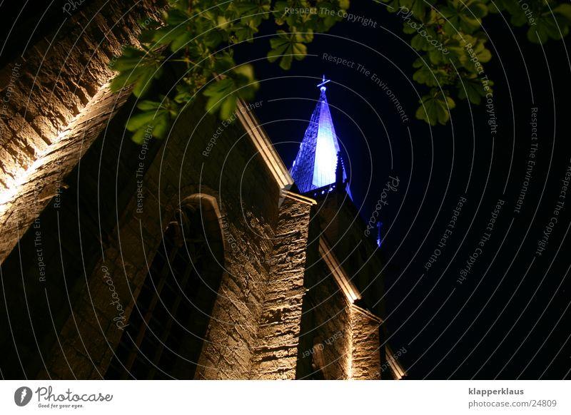 blaue Kirche Unna Nacht Beleuchtung Licht Gotteshäuser Religion & Glaube alt