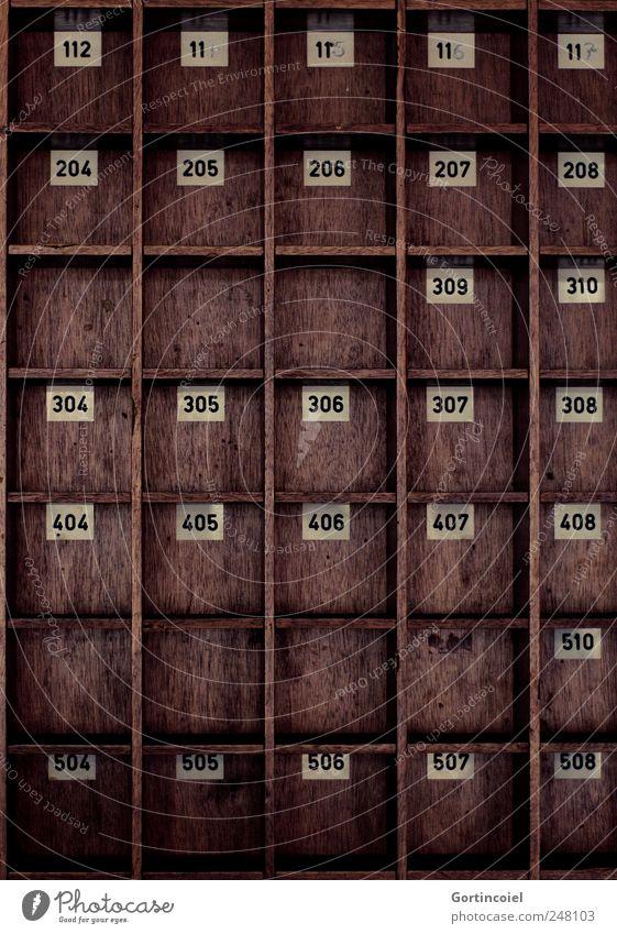 Ausgebucht alt Holz braun retro Ziffern & Zahlen verfallen Hotel Dienstleistungsgewerbe Hotelzimmer Setzkasten Schlüsseldienst Zimmerservice