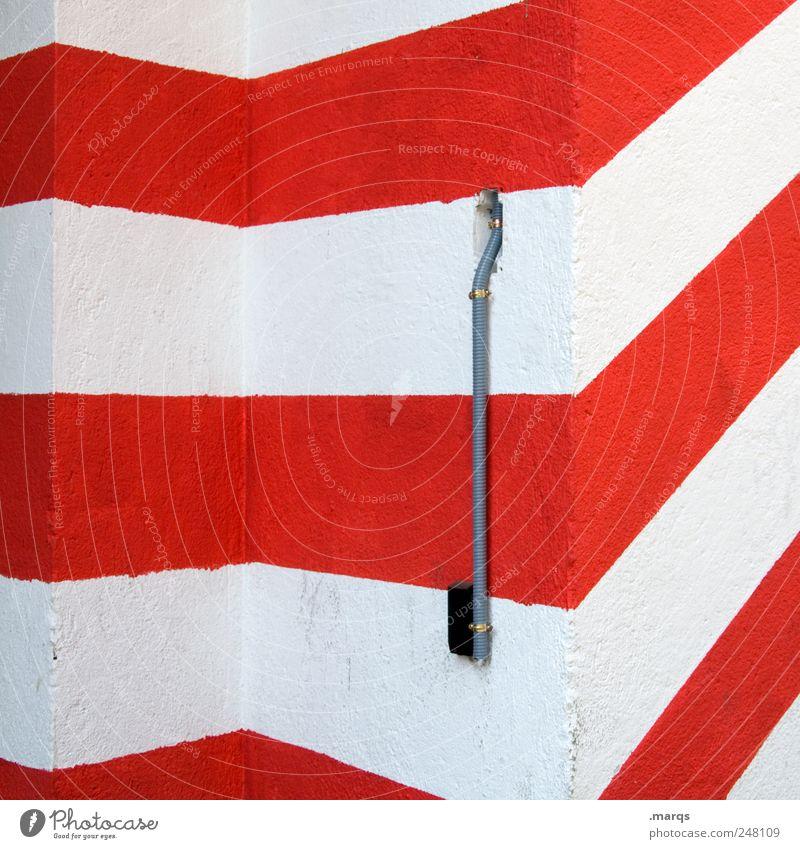 Leitung Stil Design Mauer Wand Linie Streifen eckig einfach rot weiß Perspektive Grafik u. Illustration Farbfoto Außenaufnahme abstrakt Muster